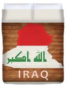 Iraq Rustic Map On Wood Duvet Cover