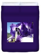 Iris Flower Art Print Purple Irises Botanical Floral Artwork Duvet Cover