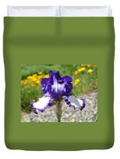 Iris Flower Purple White Irises Nature Landscape Giclee Art Prints Baslee Troutman Duvet Cover