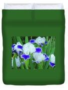 Iris Flowers Art Prints Blue White Irises Floral Baslee Troutman Duvet Cover