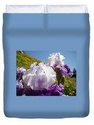 Iris Flowers Purple White Irises Poppy Hillside Landscape Art Prints Baslee Troutman Duvet Cover