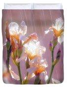 Iris In Rain Duvet Cover