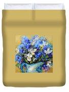 Irises And Blue Glass Duvet Cover