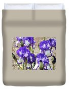 Irises Floral Art Iris Flowers Purple White Baslee Troutman Duvet Cover