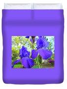 Irises Floral Garden Art Print Blue Purple Iris Flowers Baslee Troutman Duvet Cover