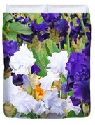 Irises Flowers Garden Botanical Art Prints Baslee Troutman Duvet Cover