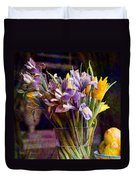 Irises In A Glass Duvet Cover