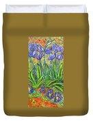 Irises In A Sunny Garden Duvet Cover