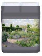 Irises In The Herb Garden Duvet Cover