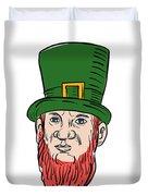 Irish Leprechaun Wearing Top Hat Drawing Duvet Cover