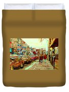 Irish Pubs And Bistros Downtown Montreal Duvet Cover