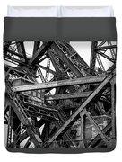 Iron Bridge Close Up In Black And White Duvet Cover
