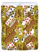 Iron Chains With Playing Cards Seamless Texture Duvet Cover