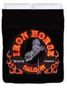 Iron Horse Saloon In Neon Duvet Cover
