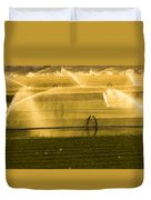 Irrigation System Operating At Sunset Duvet Cover