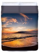 Island Gold - An Amazingly Golden Sunset On The Beach In Hawaii Duvet Cover