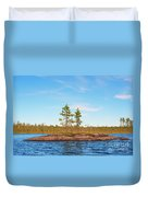 Island In The Form Of A Smooth Rock With Several Pines Duvet Cover