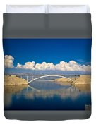 Island Of Pag Bridge And Velebit Mountain Duvet Cover