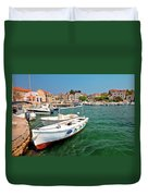 Island Of Prvic Turquoise Harbor And Waterfront View In Sepurine Duvet Cover
