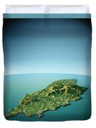 Isle Of Man 3d View South-north Natural Color Duvet Cover