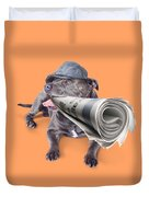 Isolated Newspaper Dog Carrying Latest News Duvet Cover
