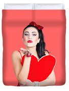 Isolated Pin Up Woman Holding A Heart Shaped Sign Duvet Cover