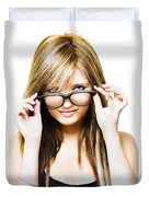 Isolated Sexy Girl Wearing Glasses On White Duvet Cover