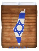 Israel Rustic Map On Wood Duvet Cover