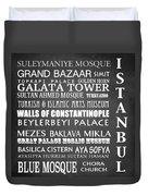 Istanbul Famous Landmarks Duvet Cover