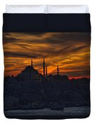 Istanbul Sunset - A Call To Prayer Duvet Cover by David Smith