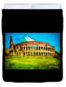 Italian Aerobatics Team Over The Colosseum Duvet Cover