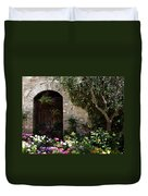 Italian Front Door Adorned With Flowers Duvet Cover