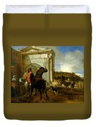 Italian Landscape With Horsemen By A Spring Duvet Cover