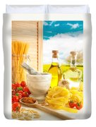 Italian Pasta In Country Kitchen Duvet Cover