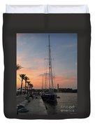 Italian Sunset And Sailboat Duvet Cover