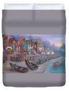 Italy Tuscan Decor Painting Seascape Village By The Sea Duvet Cover