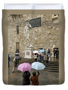 Italy, Florence, Piazza Della Signora Duvet Cover