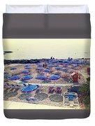 Italy, Sanremo, The Beach. Duvet Cover