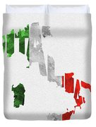 Italy Typographic Map Flag Duvet Cover