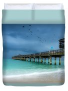 It's Getting Stormy At The Pier Duvet Cover