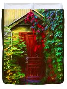 Ivy Surrounded Old Outhouse Duvet Cover