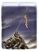 Iwo Jima Flag Raising Duvet Cover