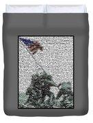 Iwo Jima War Mosaic Duvet Cover