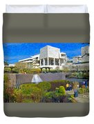 J. Paul Getty Museum Central Garden Panorama Duvet Cover
