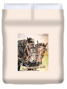 Jack And Joe Hard Workin Horses Duvet Cover