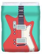 60's Electric Guitar - Teal Duvet Cover