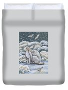 Jackrabbit And Horned Larks Duvet Cover