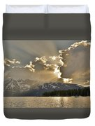 Jackson Lake Sunset View Duvet Cover