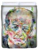 Jackson Pollock - Watercolor Portrait.3 Duvet Cover