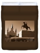 Jackson Square In New Orleans - Sepia Duvet Cover